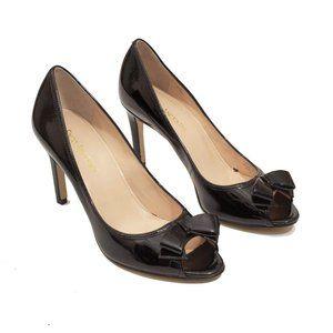 Enzo Angiolini Black Patent Leather Peep Toe